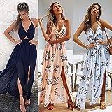 RVXZV SillyqZ Boho Dresses Women Summer Maxi Long Dress Evening Party Beach Dresses Sundress Floral Halter Dress Elegant M Pink