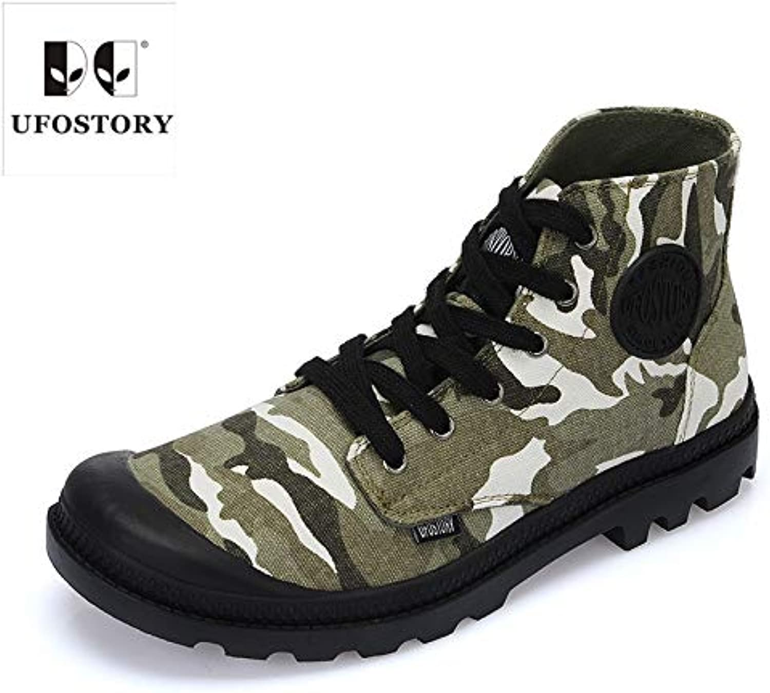 LOVDRAM Boots Men's Camouflage High shoes Men'S Wild Fashion Canvas shoes Men'S Fashion Men'S shoes shoes Breathable Round Head