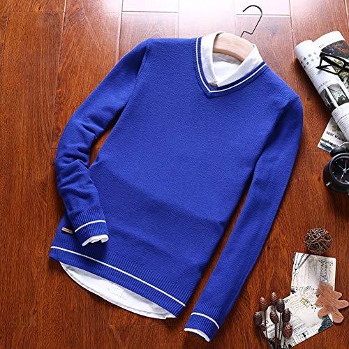 ZTBGD 暖かい100%の綿のセーターの人のニットのプルオーバーOの首の人のセーターのコートの冬の偶然の長袖のセーターの男性の上,ライトブルー,L