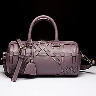 Leather 2018 New Women's Handbag Leather Handbag Leather Shoulder Wallet Handbag Wallet Waterproof (Color : Purple, Size : M)