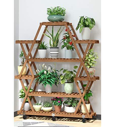 Large Plant Stand - 8 Tier Wooden Flower Rack & Shelf Planter Unit up to 15 Potted Plants, Succulents and Flowers. Multi-Tier Shelving Unit Display for Indoor, Outdoor, Garden, Patio, Balcony, Office