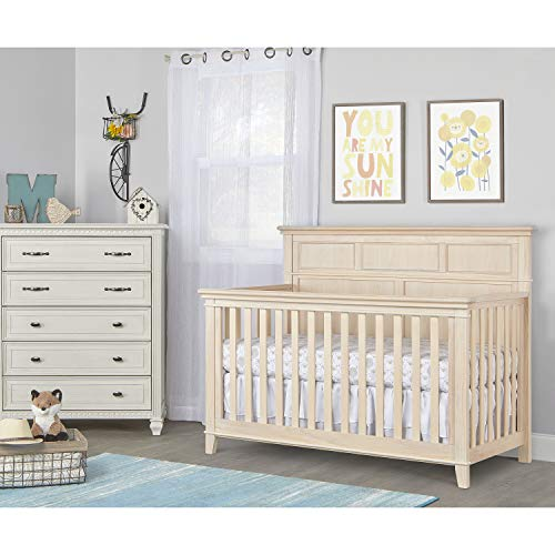 Sweetpea Baby Dover 4 in 1 Convertible Crib in Vintage White Oak