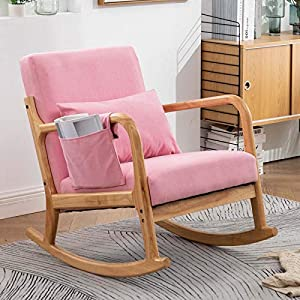 Rocking Chair for Nursery Nursery Chair Modern Rocking Chair Nursery Rocking Chairs with Pillow and Side Storage Pocket (Light Pink)