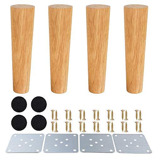 Gambe mobili in legno,piedini in legno per armadietti e tavolini per TV cabinet divano letto tavolo da pranzo confezione da 4 pezzi(20cm,angolo retto)