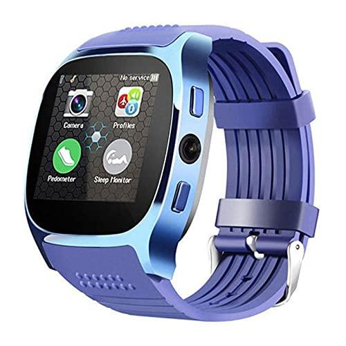 Bluetooth Smart Watch, Rastreador De Actividad Multifunción, Monitoreo De Frecuencia Cardíaca Y Datos De Ejercicios De Grabación, Recordatorio De Llamadas De Información con Cámara,Azul