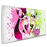 Top Sale Spla-toon Squid Sisters Oversized Extended Mousepad, Computer Keyboard Pad Mat, Mouse Pad with Stitched Edge, Gaming Mouse Pad, Thick Large 35.5x15.8 in
