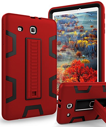 TIANLI Samsung Galaxy Tab E 9.6 Case Anti-Scratch Shockproof Three Layer Full Body Armor Protection with Sturdy Kickstand Anti-Fingerprint,Red Black Delaware