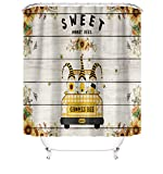 Gehydy Bee Gnome Shower Curtain Summer Farmhouse Decorations 2021 New Swedish Gnome Scandinavian Tomte Shower Curtains Bathroom Decor 72 x 72 Inches Waterproof Polyester Fabric with 12 Hooks B