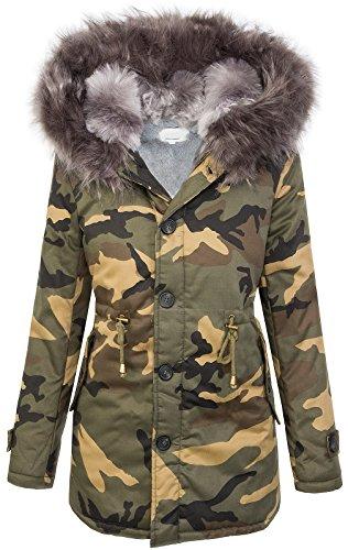 Rock Creek Selection Damen Camouflage Winter Jacke Kunstpelzfutter Army-Look Kapuze XXL-Kunstfell D-339 [EF-1613 Grey L]