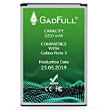 GadFull Batterie compatible avec Samsung Galaxy Note 3 | 2019 Date de Production | correspond à l' EB-B800BE | Compatible avec Note 3 GT-N9000 | GT-N9005 | GT-N9006 | GT-N9009