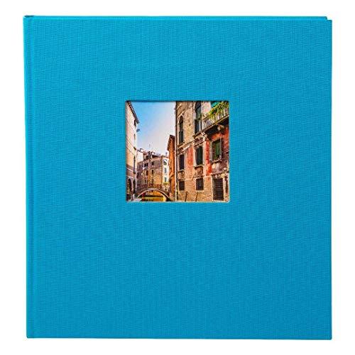 goldbuch 27893 Fotoalbum mit Fensterausschnitt, Bella Vista, Erinnerungsalbum 30 x 31 cm, Foto Album 60 weiße Seiten mit Pergamin-Trennblättern, Fotobuch aus Leinen, Türkis