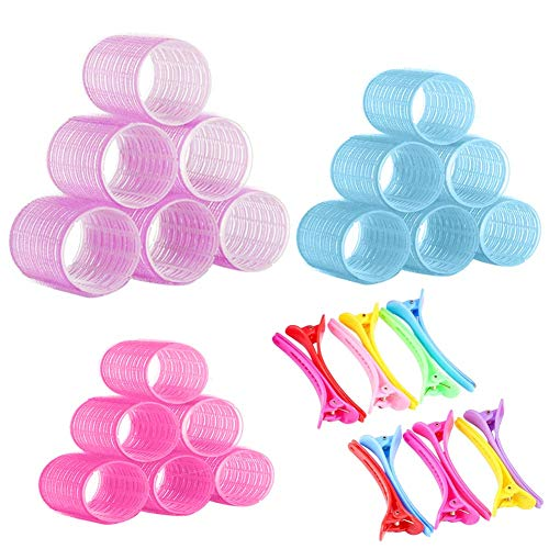 18 PCS Self Grip Hair Rollers Set, 25mm/30mm/44mm Salon Hairdressing Curlers Self Holding Rollers with 12 PCS Multicolor Plastic Duck Teeth Bows Hair Sectioning Clips