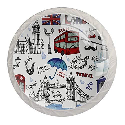 London Elements - Pomelli per cassettiera in vetro, per armadietti, porte, armadi, armadi