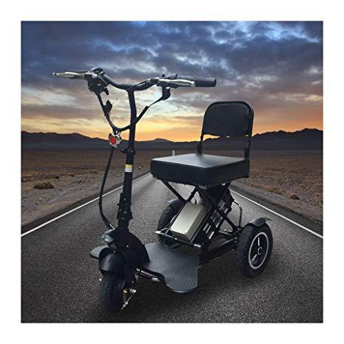 CTO Rollstuhl Mini zusammenklappbares elektrisches Dreirad Elektroroller Behinderter Elektrorollstuhl Erwachsener Lithium Tragbar für Behinderte Ältere Batterie Auto 48V 10Ah Kann 40 km lang halten