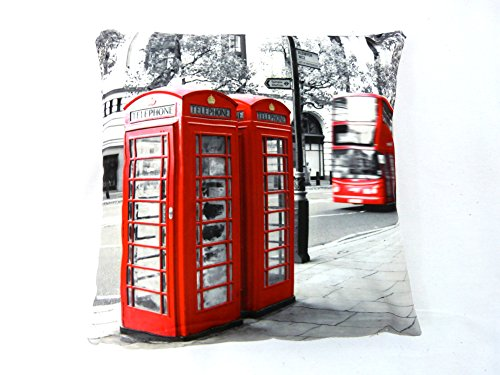 RED PHONE BOXES RED BUS PRINTED CUSHION COVER LONDON...