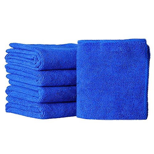 Bodhi2000® – Lot de 5 chiffons absorbants en microfibre pour nettoyage de voiture, bleu, 25 x 25 cm