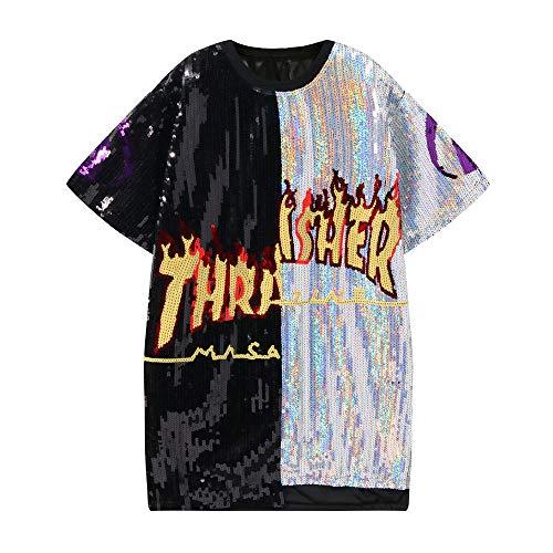 unbrand Chicos con Lentejuelas Camisetas sin Mangas para Hombre Ropa de Baile Vestuario Adolescentes Modern Jazz Hip-Hop Dancewear Lentejuelas Jumper