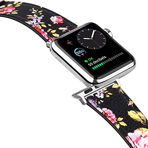 Tobfit Leather Bands Compatible with Apple Watch Band 38mm 40mm 42mm 44mm Women Men, Top Grain Leather Wristband, Floral Pink, 38mm/40mm