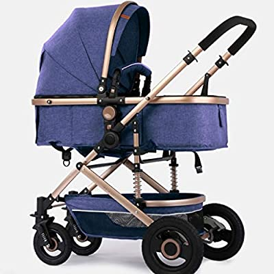 BBYRTC Carrito Bebe- Carrito para bebés La luz del Paisaje Alto Puede Sentarse y acostarse Doble la suspensión Cuatro Rondas Carrito de bebé Carrito de bebé Cuna para bebé