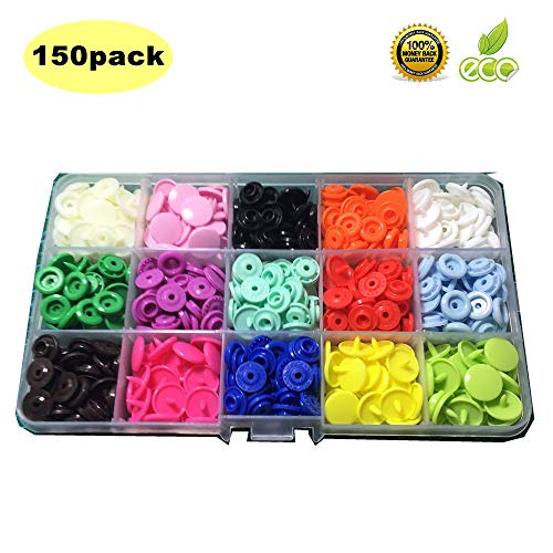KAM no-sew Plastic snap Fasteners with Organizer Storage case for Sewing Cloth Diaper/Bibs/Unpaper/Trowels/Nappies/Buttons/Mama Pads (150sets T5 Snap)