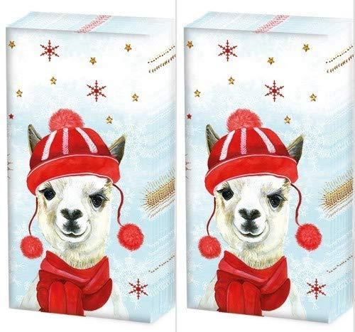 20 Taschentücher (2x 10) Lustiges Lama im Winter als Geschenk für Weihnachten