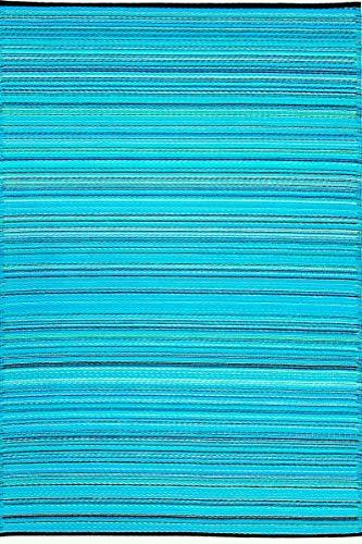 Green Decore Weaver - Alfombra reversible de plástico resistente a las manchas (15,2 x 22,8 cm, color azul turquesa)