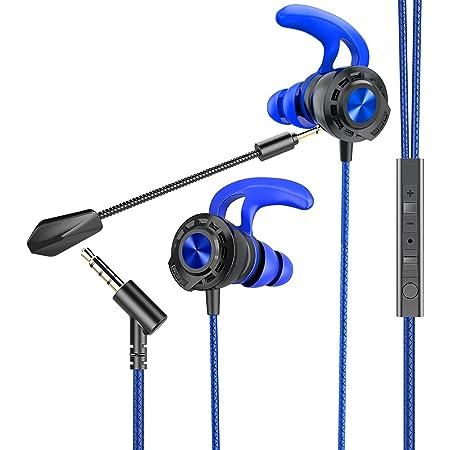 BENGOO G16 - Auricolari da gioco cablati con doppio microfono, con cancellazione del rumore, cuffie in-ear per computer, iPhone PlayStation 4 e 5, Super Nintendo, Sony PSP