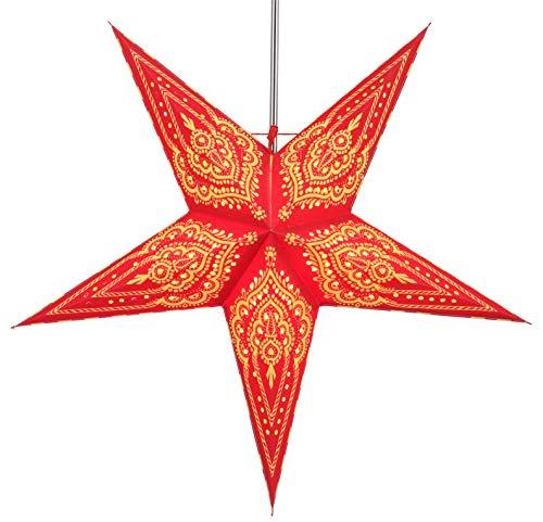 Guru-Shop Faltbarer Advents Leucht Papierstern, Weihnachtsstern 60 cm - Scorpius Rot, Star Fensterdeko, 7 Spitzen