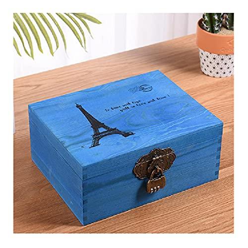 Caja De Almacenamiento Vintage,Caja Almacenamiento Joyas con Cerradura,Organizador Escritorio Diseño con Tapa Abatible De Madera,para Guardar Libros Pendiente Anillo Pulsera,Blue-B