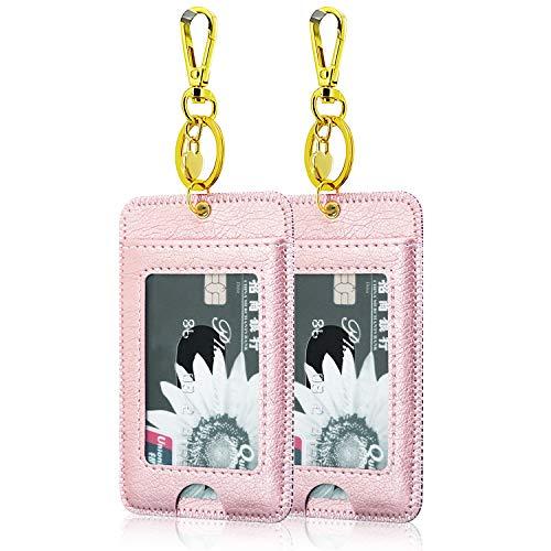 [2 Pack] ID Badge Holder, ACcolorID Badge Clip Sleutelhanger Houder, PU Lederen ID Badge Reel Clip Card Houder met Sleutelring, Metalen Clip, 2 Card Pockets,