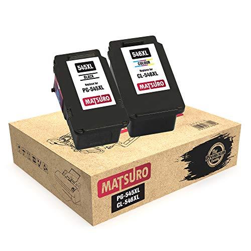 Matsuro Original   Compatible Remanufactured Cartuchos de Tinta Reemplazo para Canon PG-545XL CL-546XL PG-545 CL-546 (1 Set)