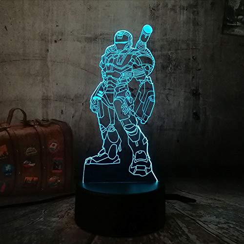 ShiyueNB 2019 Action Figuur Cool Iron Man creatieve LED 3D 7 kleurverloop, visuele sfeer, nachtlampje kind kind cadeau