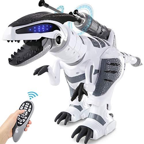 YUQQZ Ferngesteuert Dinosaurier Roboter mit Licht und Sound Programmierbar Dino, Intelligent Interaktive Spielzeug mit Brüllen, Tanz- und Schussfunktion für Kinder Jungen Geschenk