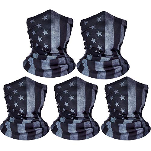 ZeeDix 5 Pcs American Flag Outdoor Bandana Face Mask- Microfiber Multifunctional Seamless Headwear, UV Protection Face Neck Gaiter for Riding, Skiing, Snowboarding, Balaclava, Hiking, Fishing(Gray)