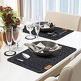 Kuchisity Tischset Filz Platzset, 24er Set Abwaschbar Tischsets, 8 Platzsets (44x32cm)   8 Untersetzer   8 Bestecktasche, Abwischbar Platzdeckchen Tischuntersetzer, Platzset für Zuhause (Schwarz) - 2