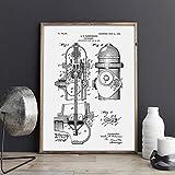 shiyueNB Patente de Boca de Incendios, Bombero, Arte de la casa de Bomberos, impresión de Imagen, póster, decoración del hogar, impresión Vintage, Plano, Bombero, Dibujo 50X70cm