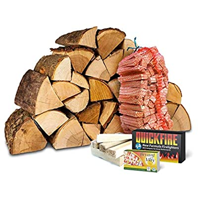 Fire Starter Kit. Includes Kiln Dried Hardwood Logs, Kiln Dried Kindling, Firelighters and Matches (20Kg) by Logpile
