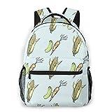 Unisex Rucksack, frische Gurke, Karotte, Mais, Cob, 3D-Druck, leichte Büchertasche für Frauen