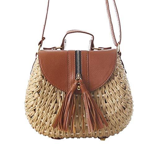RUIMI Beach Straw Bag Handbag for Women,Vintage Crossbody Straw Purse Beach Wicker Woven Handbag,magnetic buckle,for Travel Shopping and Everyday Use