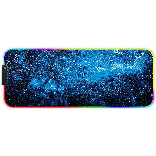 DORRISO RGB Alfombrilla de Ratón Juego Grande 800x300x3 mm XL Gaming Alfombrilla Raton RGB Impermeable con Base de Goma Mouse Pad para Gamers Ordenador PC Laptop Azul