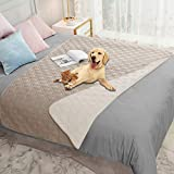 Ameritex Waterproof Dog Blanket for Bed Couch Sofa (52x82 Inches, Cream+Beige)