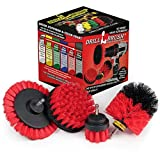 Drillbrush Red – Outdoor Power Scrubber Brush Kit - Garden, Patio, and Deck Cleaning - Drill Brush Attachments for Scrubbing Concrete, Brick, and Stone - Horse Stall Mats, Feed, and Water Buckets