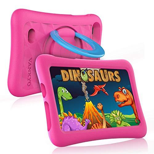 vankyo Z1 Tablet für Kinder 7 Zoll Kinder Tablet mit Kindersicherungsmodus, 32 GB Speicherraum, Android 8.1, Dual 2Mp Kamera, Rosa Hülle, 7 Zoll Kinder Tablet für Mädchen