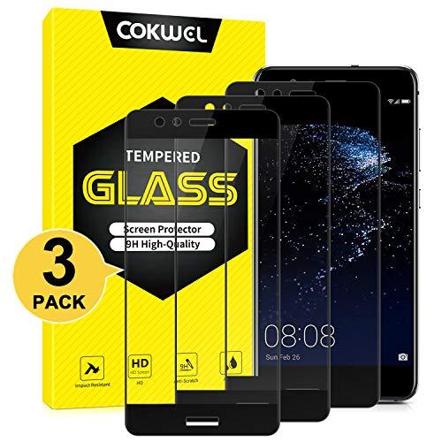 COKWEL [3 Pezzi Pellicola Protettiva Compatibile con Huawei P10 Lite, Vetro Temperato [Copertura Completa] [Compatibile con la Custodia] [Senza Bolle]