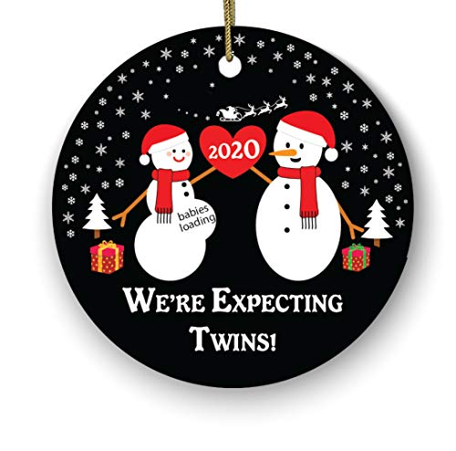 We're Expecting Twins Ceramic Porcelain Christmas Ornament/We're Expecting Twins/New Parents Mom Dad Mommy Daddy Ornament/were Expecting Christmas Ornament/New Baby Girl Boy/Pregnant