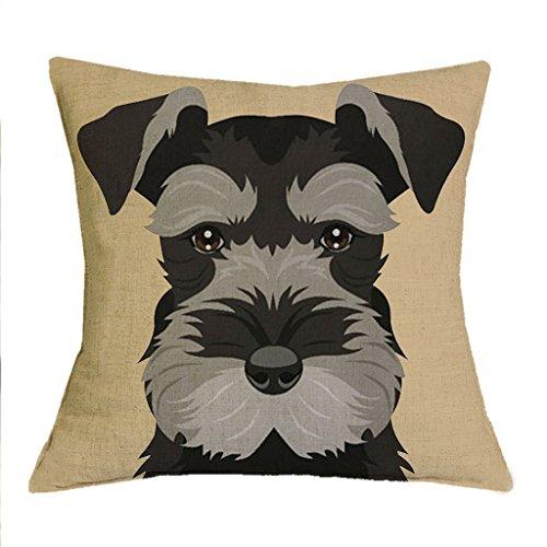 The Beach Stop TBS Cute Animal, Dog, Puppy, Colourful Schnauzer Gift Idea Cushion Covers (Beige)
