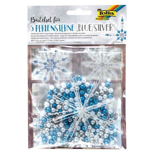 Unbekannt Folia Perlensterne Bastelset für 5 Sterne, Blau-Silber - Drahtsterne Weihnachtsschmuck