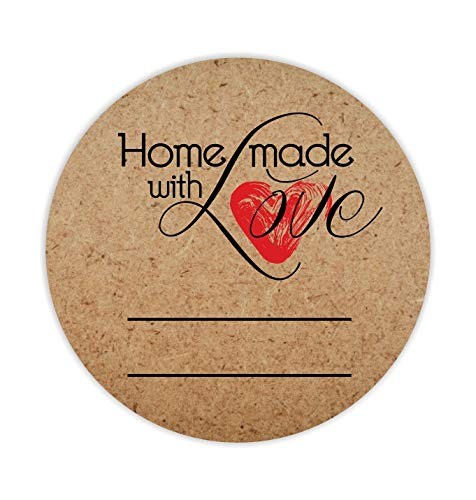 500 Kraft Home Made with Love Stickers in Roll, Kraft Paper   2   Round Size   Highly Recommended for All Home Made Products and Small Business Owners …