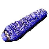 Xin.S15 Grados Caen Momias Con Capucha Sacos De Dormir Oruga Clima Frío Ultra-ligero Bolsa De 3 Estaciones Campamento Salvaje Y Mochila (azul Y Rojo),Blue-215*78*55cm(0.8kg)