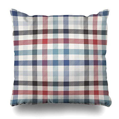 Funda de almohada con estampado de cuadros azules a cuadros, vintage, rojo, diseño clásico de Madras Swatches con cremallera, tamaño cuadrado, 45,7 x 45,7 cm, decoración del hogar